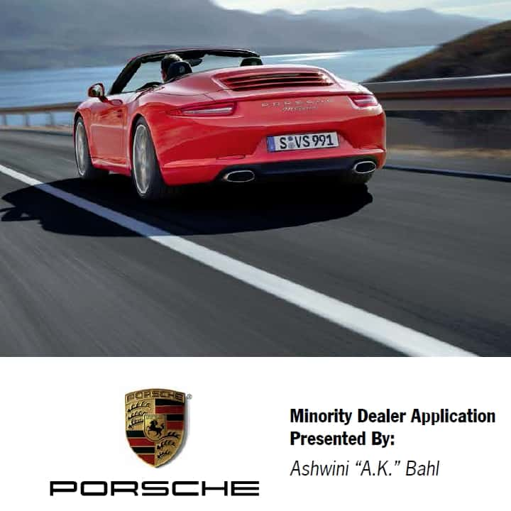 Porsche Minority Dealer applicatio